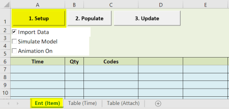 click setup scheduled arrivals with table input