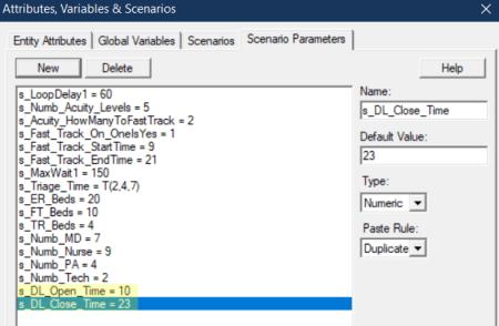 scenario paramter values for Patient Discharge
