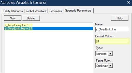 update scenario paramter values in Over Time Threshold