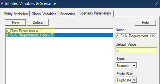 define scenario parameters in Calculate SLA in Hours