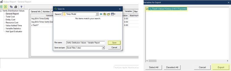 export variable in Verify Distribution Values