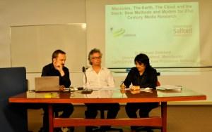 Professores Gustavo Fischer, Michael Goddard e Adriana Amaral