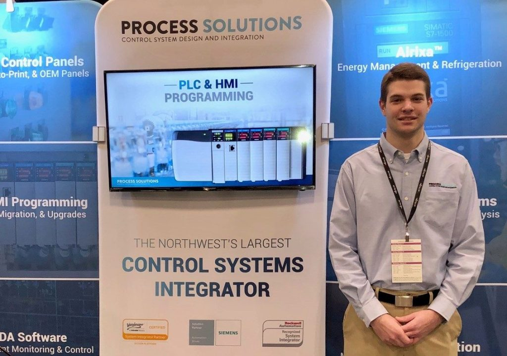Process Solutions booth displaying plc programming at northwest food and beverage world 2020