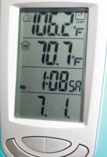 106 deg outside is hot! 71 deg inside is cool!
