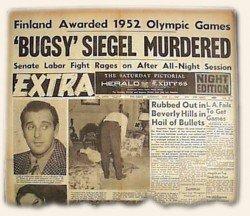 Fotografie Bugsyho těla vyšly hned druhý se objevily v tisku (Zdroj: blog.rarenewspapers.com)