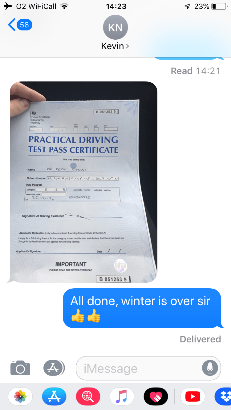 Kevin Nimani Driving Test Pass