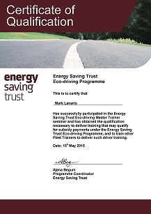 Mark Lanario Eco Driving Certificate