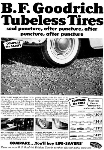 Tubeless Tire Advertisment. Click to enlarge. Image courtesy of Don O'Brien on Flickr, hosted under CC BY 2.0.