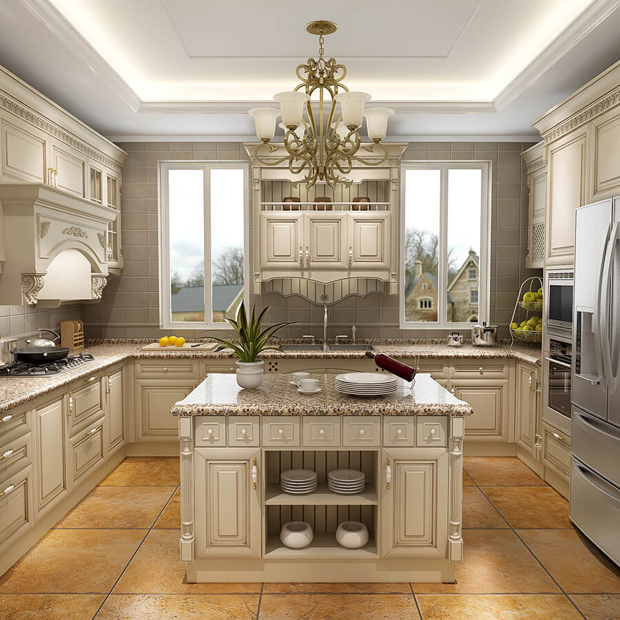 Antique White kitchen cabinet Designs Cherry Solid Wood ... on Model Kitchens  id=70466