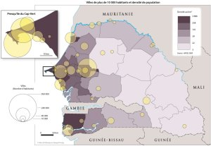 Villes de plus de 10 000 habitants et densité de population