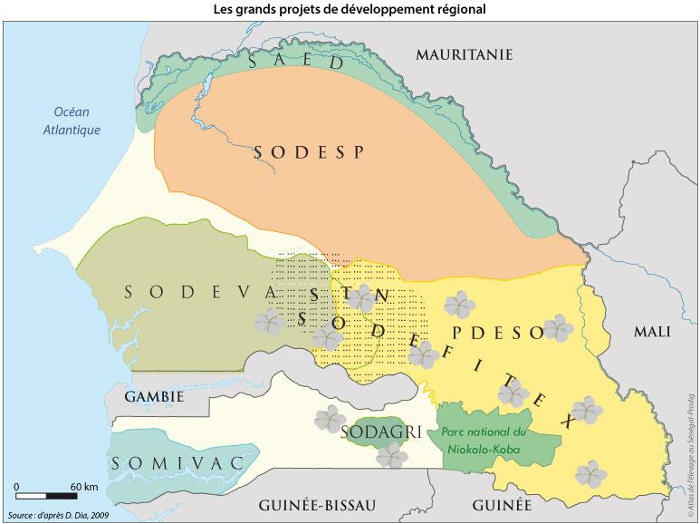Sénégal-Les territoires de l'élevage-Des tentatives pour territorialiser l'élevage-Les grands projets de développement régional