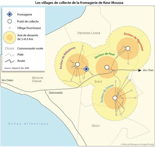 Sénégal-La filière lait, du global au local-Du lait à la périphérie de Dakar-Les villages de collecte de la fromagerie de Keur Moussa