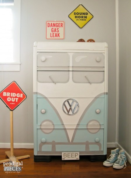 A garage sale freebie Art Deco water dresser gets a sweet Volkswagen Bus makeover by Prodigal Pieces www.prodigalpieces.com #prodigalpieces