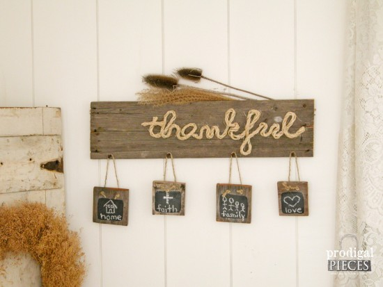 """Build a DIY """"Thankful"""" sign perfect for the holiday season out of new or reclaimed wood by Prodigal Pieces for Best Laminate www.prodigalpieces.com #prodigalpieces"""
