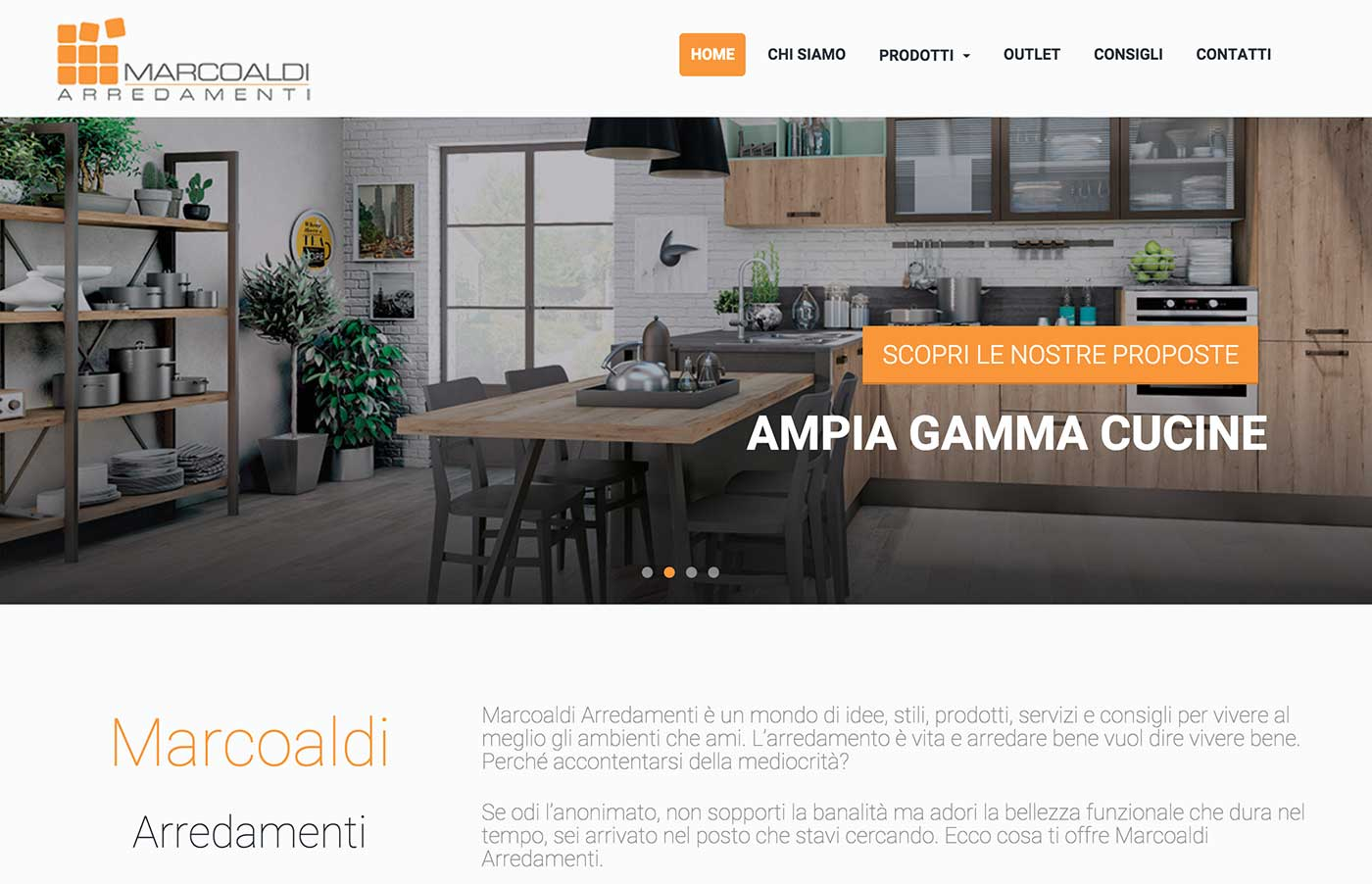 Sito web per marcoaldi arredamenti wordpress portfolio for Siti di arredamenti