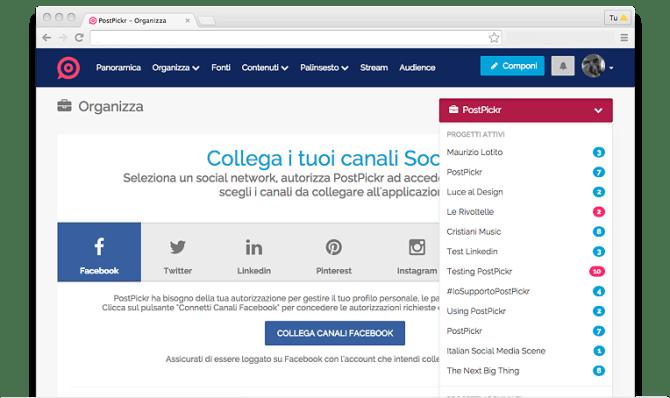 Come collegare più social su PostPickr