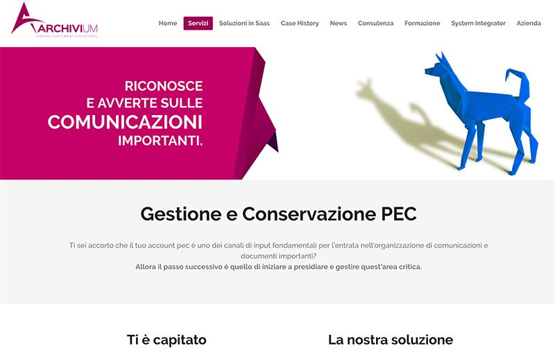 landing page gestione pec