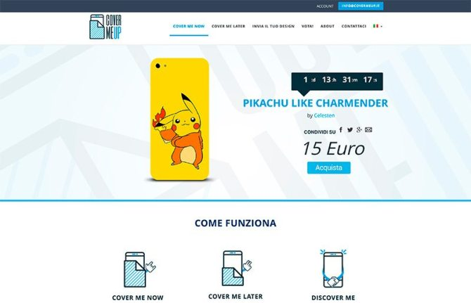 sito e-commerce cover me up vendita cover smartphone
