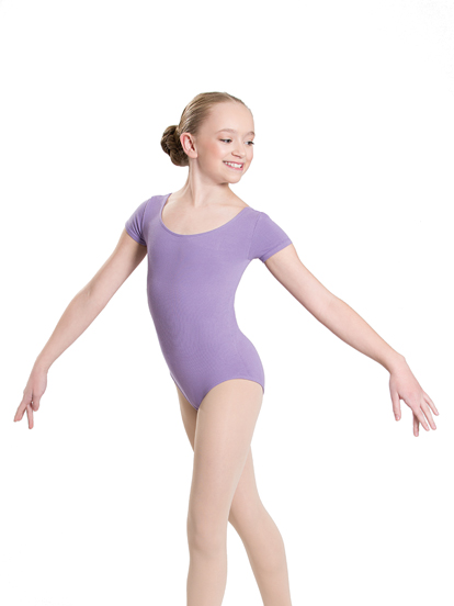short sleeve scoop leotard lavender