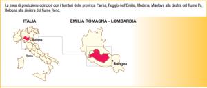 zona di produzione del Parmigiano Reggiano - fonte mipaaf