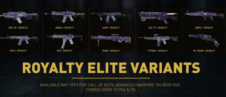 New COD AW Weapons With SAC3 Royalty Elite Variants