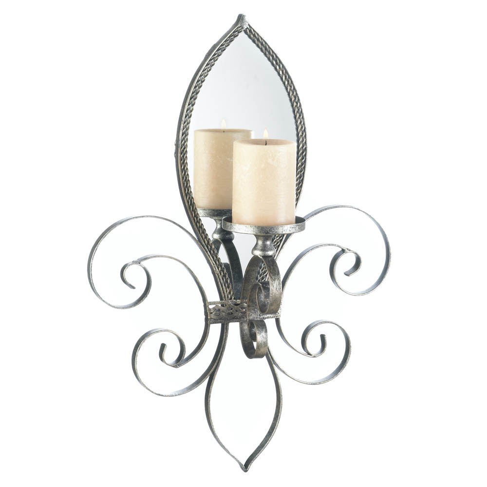 Mirrored Wall Sconce Candle Holder Votive Tea Light Iron ... on Wall Sconces Candle Holders id=70795