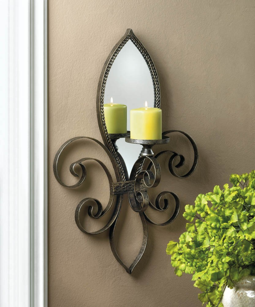 Mirrored Wall Sconce Candle Holder Votive Tea Light Iron ... on Wall Sconces Candle Holders id=83059