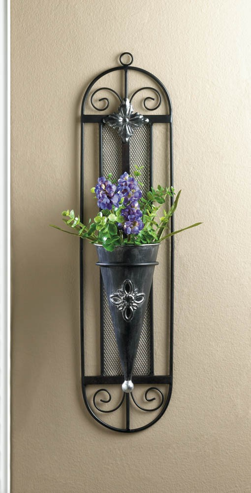 French Cottage Wall Vase Iron Wall Planter Black Vintage ... on Iron Wall Vases id=99782