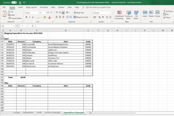 Free Blogging Accounts Spreadsheet - Expenses