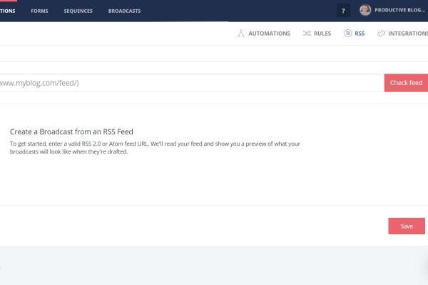 CONVERTKIT >> AUTOMATIONS >> RSS >> ADD FEED