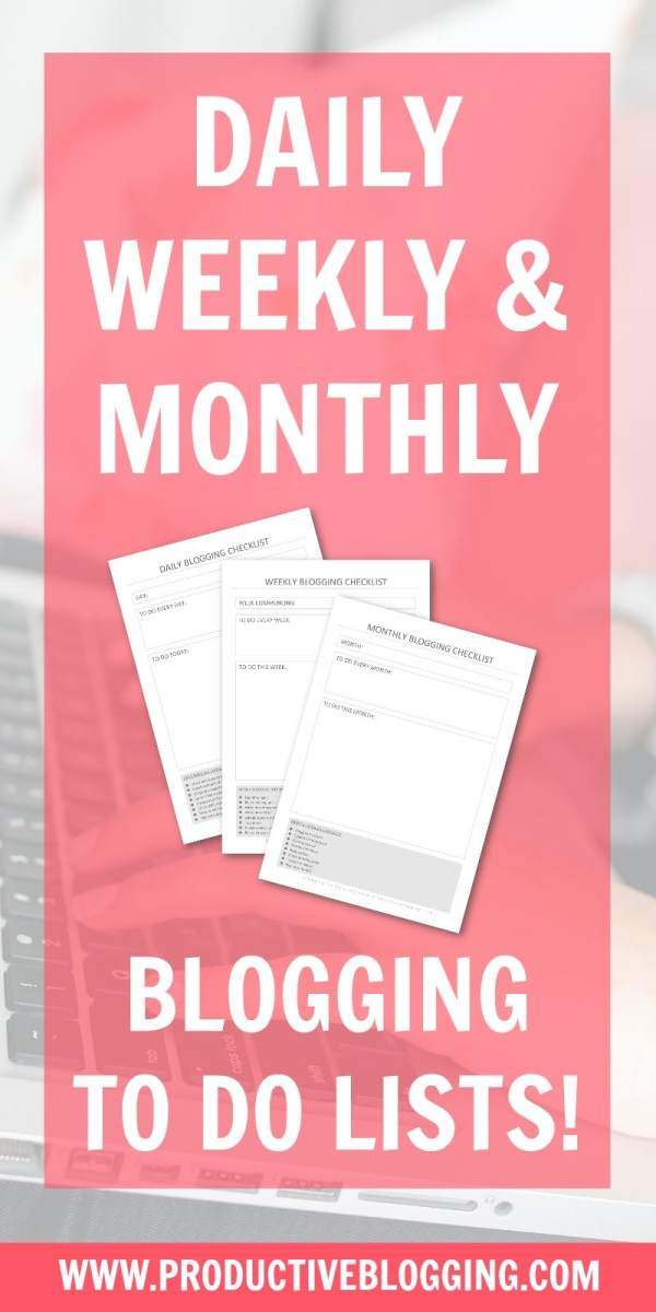 Blogging is a whole lot more than writing posts! How do you keep on top of all the tasks? Steal my daily, weekly and monthly blogging checklists to help you stay on track! #bloggingtodolist #bloggingtodolists #bloggingchecklist #bloggingchecklists #todolist #checklist #blogging #bloggers #bloggerofIG #instabloggers #bloggingtips #blogginghacks #productivity #productivitytips #productivityhacks #solopreneur #productiveblogging #productivebloggingcommunity