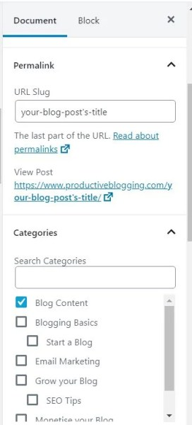 How to change the permalink of a blog post using the WordPress block editor
