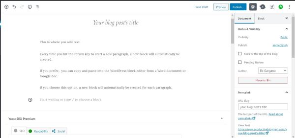 How to add paragraph text in a blog post using the WordPress block editor