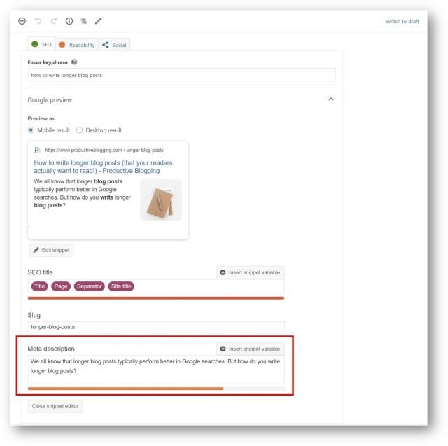 How to write the perfect meta description - Productive Blogging