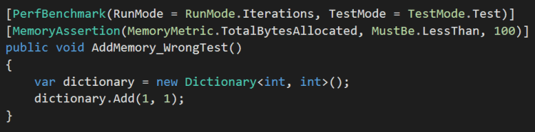 Dictionary Add memory NBench test done wrong