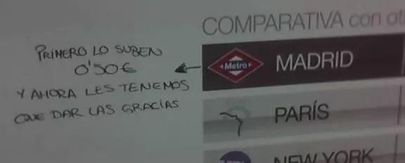 El metro de Madrid es caro