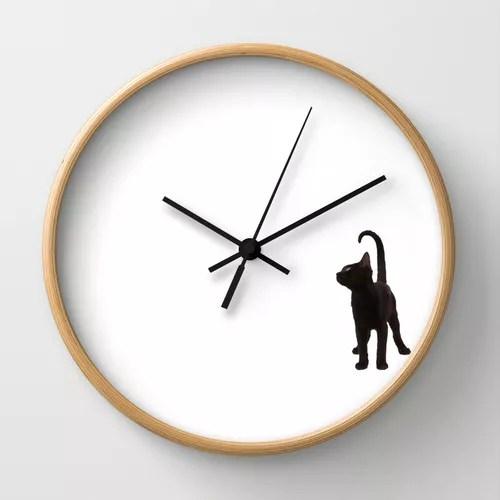 reloj gatito negro