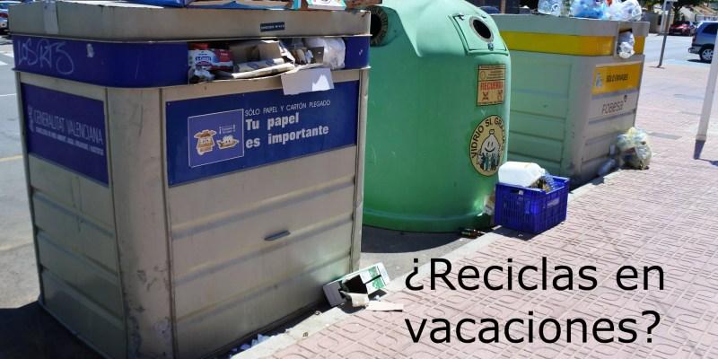 Contenedores de recogida selectiva saturados de residuos de envases