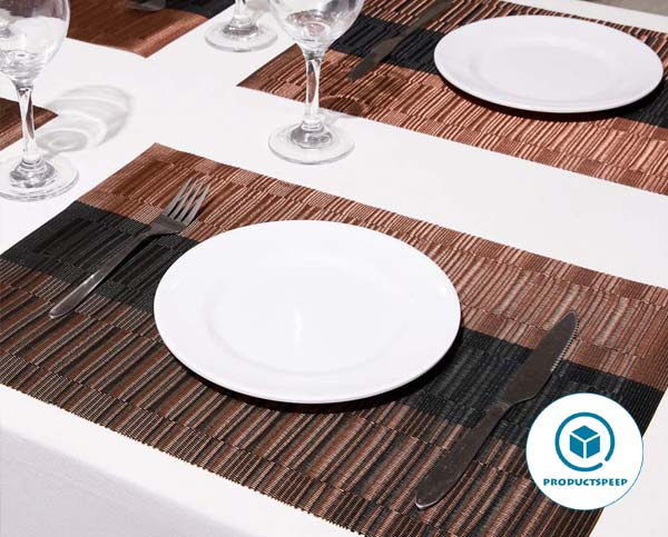 DOLOPL Waterproof Black and Brown Placemats Set of 6