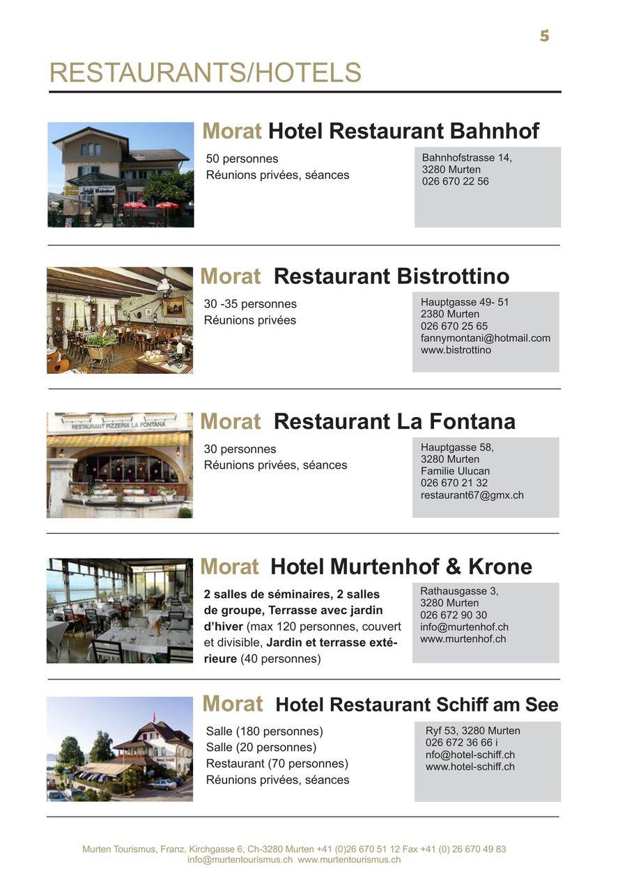 infrastructures salles 2014 franzosisch von murten tourismus