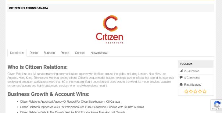 Citizen Relations Canada profile