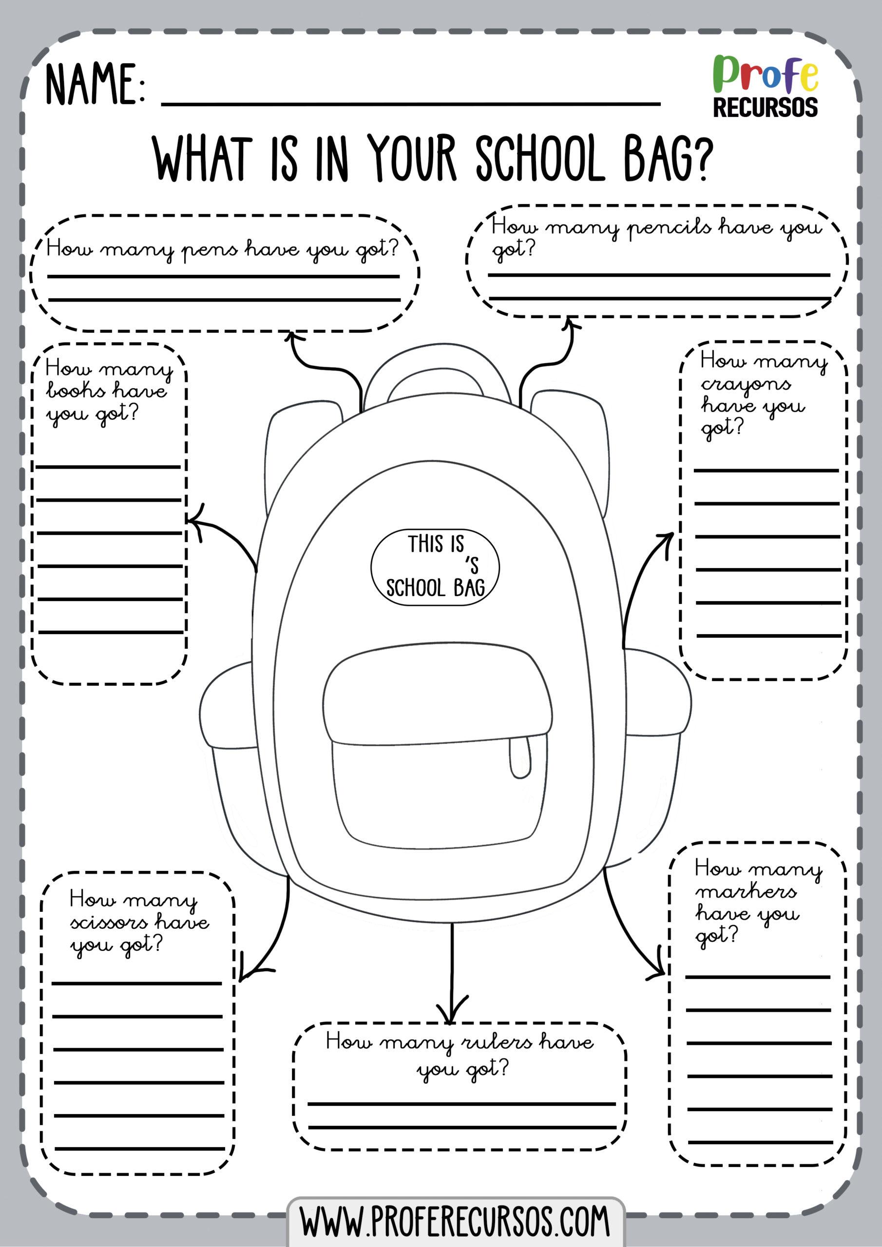 School Objects Worksheet1