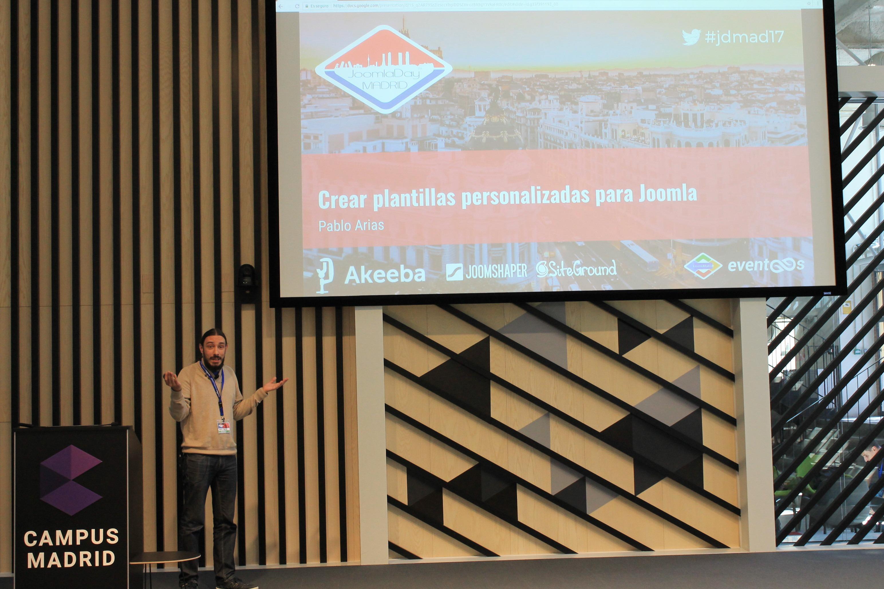 Pablo Arias, en el Joomla Day Madrid 2017