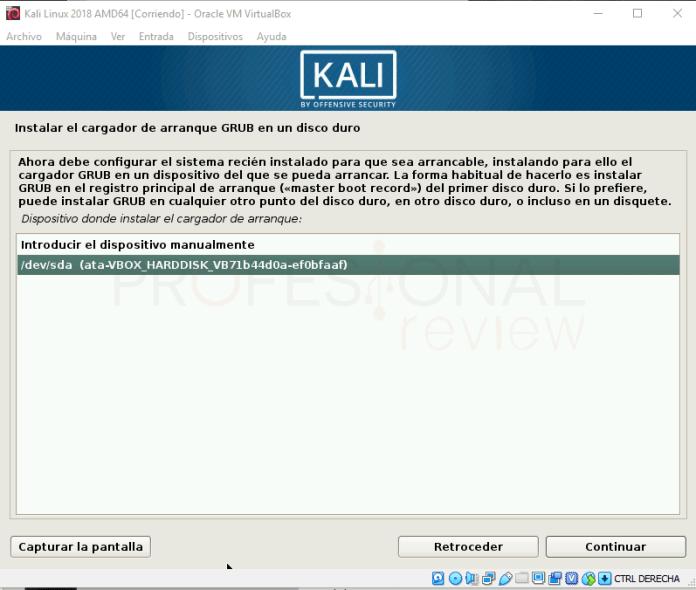 Instalar Kali Linux en VirtualBox paso 18
