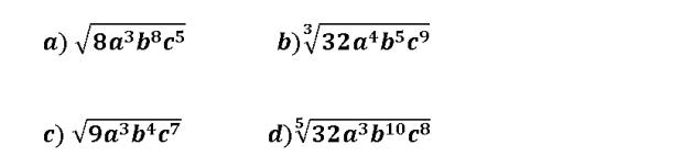 extraer factores de un radical letras