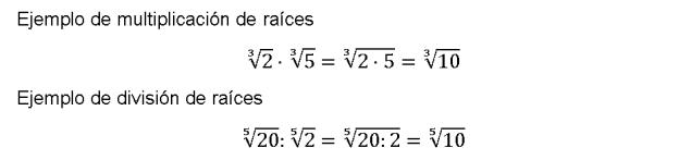 multiplicacion y division de radicales ejemplos y propiedades