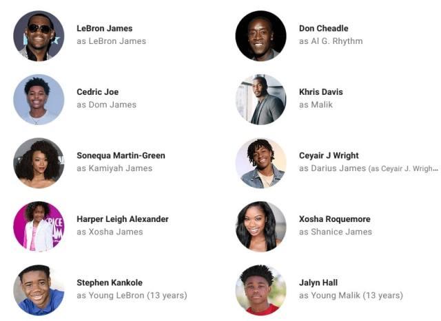 Space Jam: Yeni Efsane Oyuncuları ve karakterlerinin isimleri