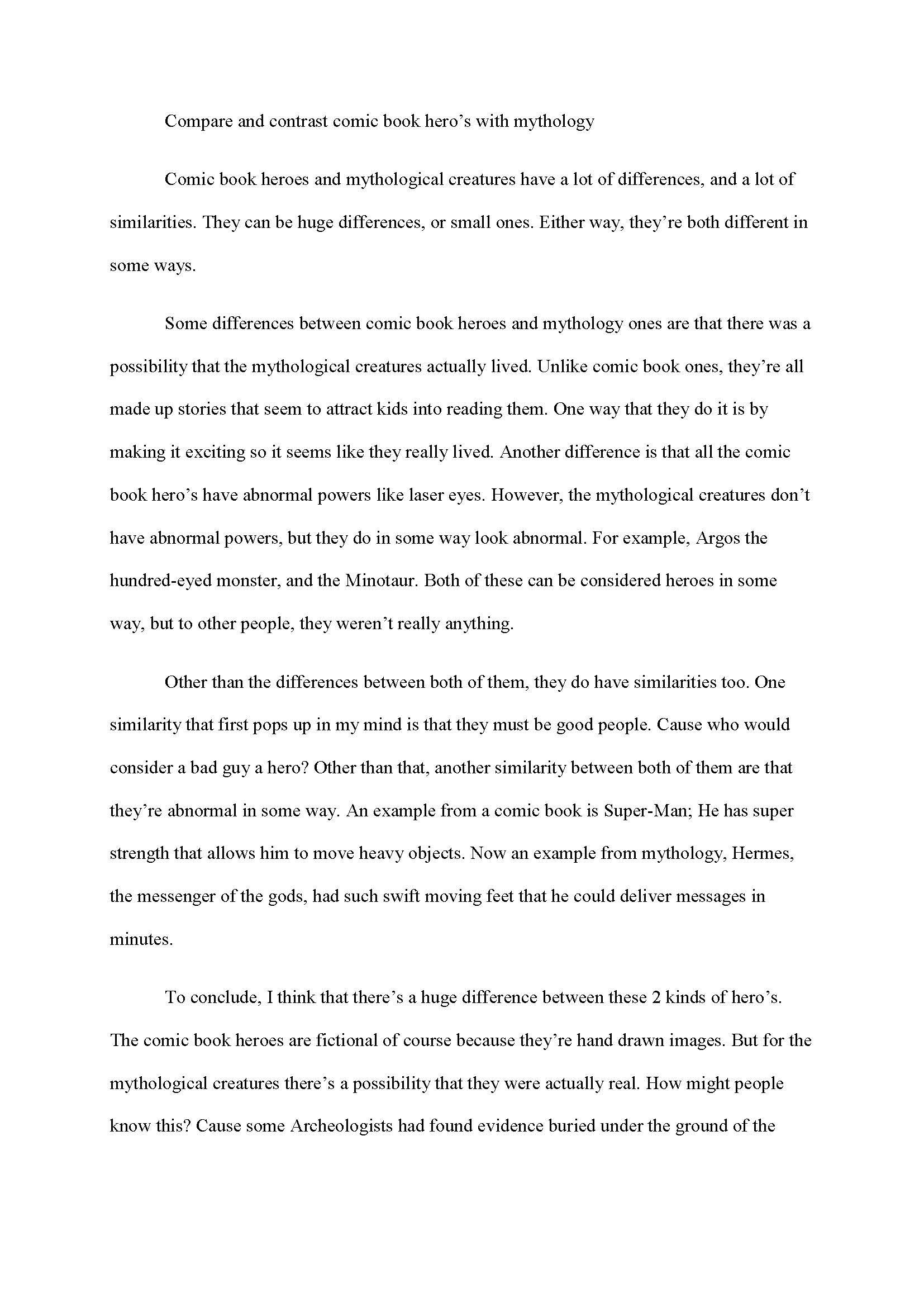 comparison essays topics