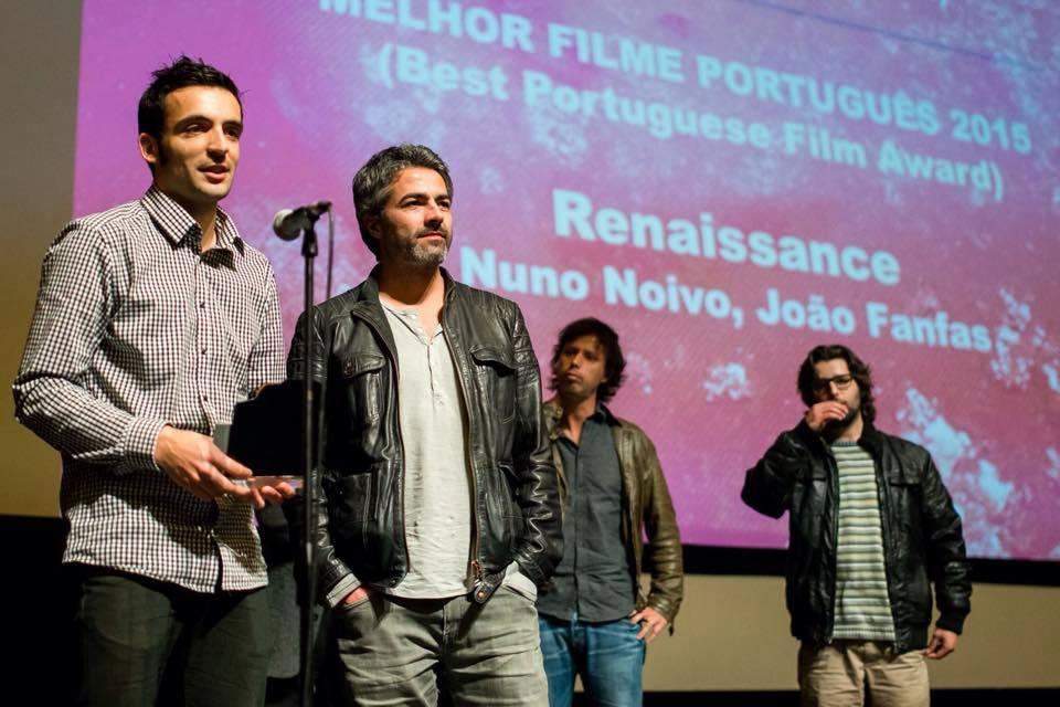 João Fanfas (gauche) et Nuno Noivo (droite) lors de la cérémonie de remise du prix au Fantasporto 2015.