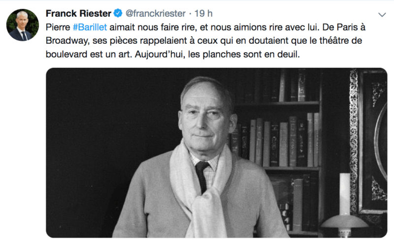 Franck Riester - Pierre Barillet - RIP hommage